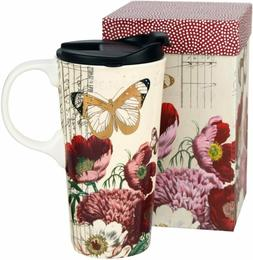 17 OZ Ceramic Mug Travel Cup with Handle and Gift Box Red Fl