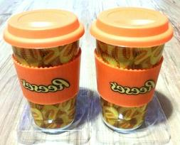 2 Reese's Ceramic Travel Mugs with Silicone Band & Lid Brand