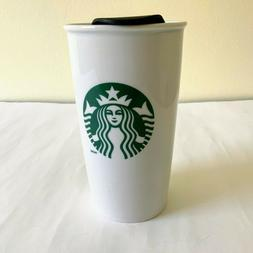 "STARBUCKS 2011 Coffee Mug Cup White Ceramic Travel 6"" Tall T"