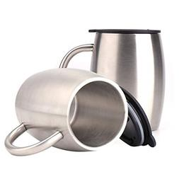 2Piece Stainless Steel Coffee Mugs with Lids Double Walled I