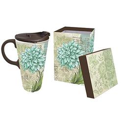 Cypress Home Turquoise Dahlia Ceramic Travel Coffee Mug, 17