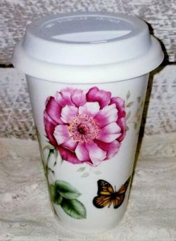 LENOX BUTTERFLY MEADOW THERMAL TRAVEL COFFEE TEA MUG 10 oz F