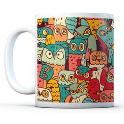 Cartoon Owls Pattern - Drinks Mug Cup Kitchen Birthday Offic