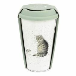 CAT MOUSE BROWN WHITE GREEN CERAMIC TRAVEL MUG WITH SILICONE