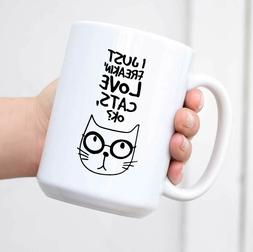 Ceramic Travel Coffee Mug with Lid I Just Freakin' Love Cats