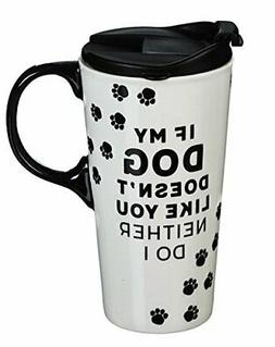 Cypress Home Ceramic Travel Coffee Mug with Matching Gift Bo