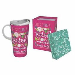 Cypress Home Ceramic Travel Cup, 17 OZ, With Box, A Smile Is