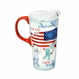 Cypress Home Ceramic Travel Cup, 17 Oz, With box, Thanks To