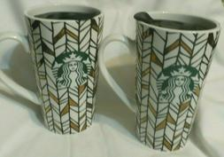 Starbucks Ceramic Travel Mug lid Geo Gold Pattern Green Merm