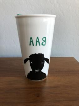 ceramic travel mug with lid - NEW - Sheep Design With Green