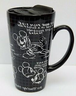 DISNEY MICKEY STECHBOOK CERAMIC TRAVEL MUG BLACK NEW AUTHENT