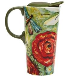 Dragonfly Garden Ceramic Travel Cup 17oz - 3CTM1902N