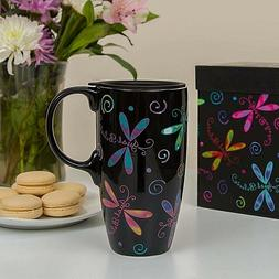 Flights of Fancy DRAGONFLY Gift Boxed Ceramic Travel Mug w/L