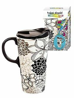 Cypress Home Floral Medley Coloring Book Ceramic Travel Coff