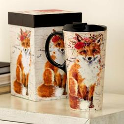Frisky FOX Gift Boxed ceramic Travel Mug w/Acrylic Lid; 17 o