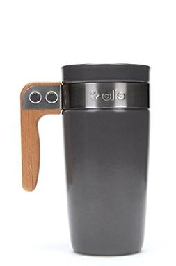Ello Fulton BPA-Free Ceramic Travel Mug with Lid, Grey, 16 o