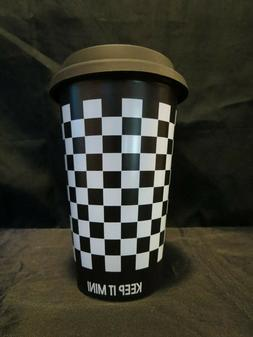 Genuine Mini Cooper Travel Mug, Ceramic, Checkered Flag, Wit