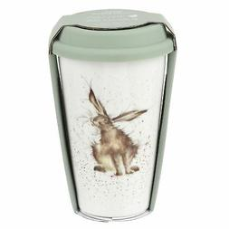 HARE BROWN WHITE GREEN CERAMIC TRAVEL MUG WITH SILICONE LID