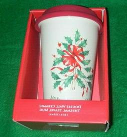 Lenox Holiday Thermal Travel Mug12 Oz Comfort Joy Double Wal