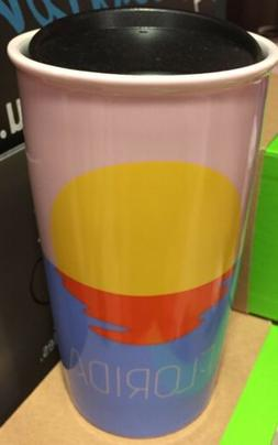 HTF-NEW 2017 Starbucks  FLORIDA Sun Ceramic 12oz Travel Tumb