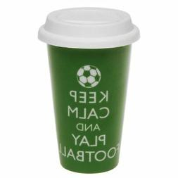 KEEP CALM AND PLAY FOOTBALL GREEN INSULATED THERMAL TRAVEL M