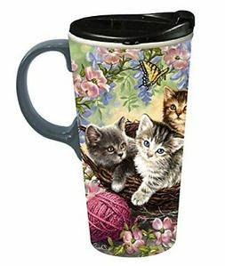Cypress Home Kittens in the Flowers 17 oz Boxed Ceramic Perf