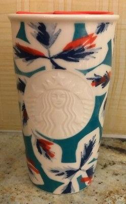 2016 Starbucks BLUE AND CORAL ETCHED Ceramic Traveler Tumble