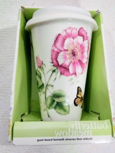 Lenox Butterfly Meadow Pink Thermal Travel Mug 10 oz Ceramic