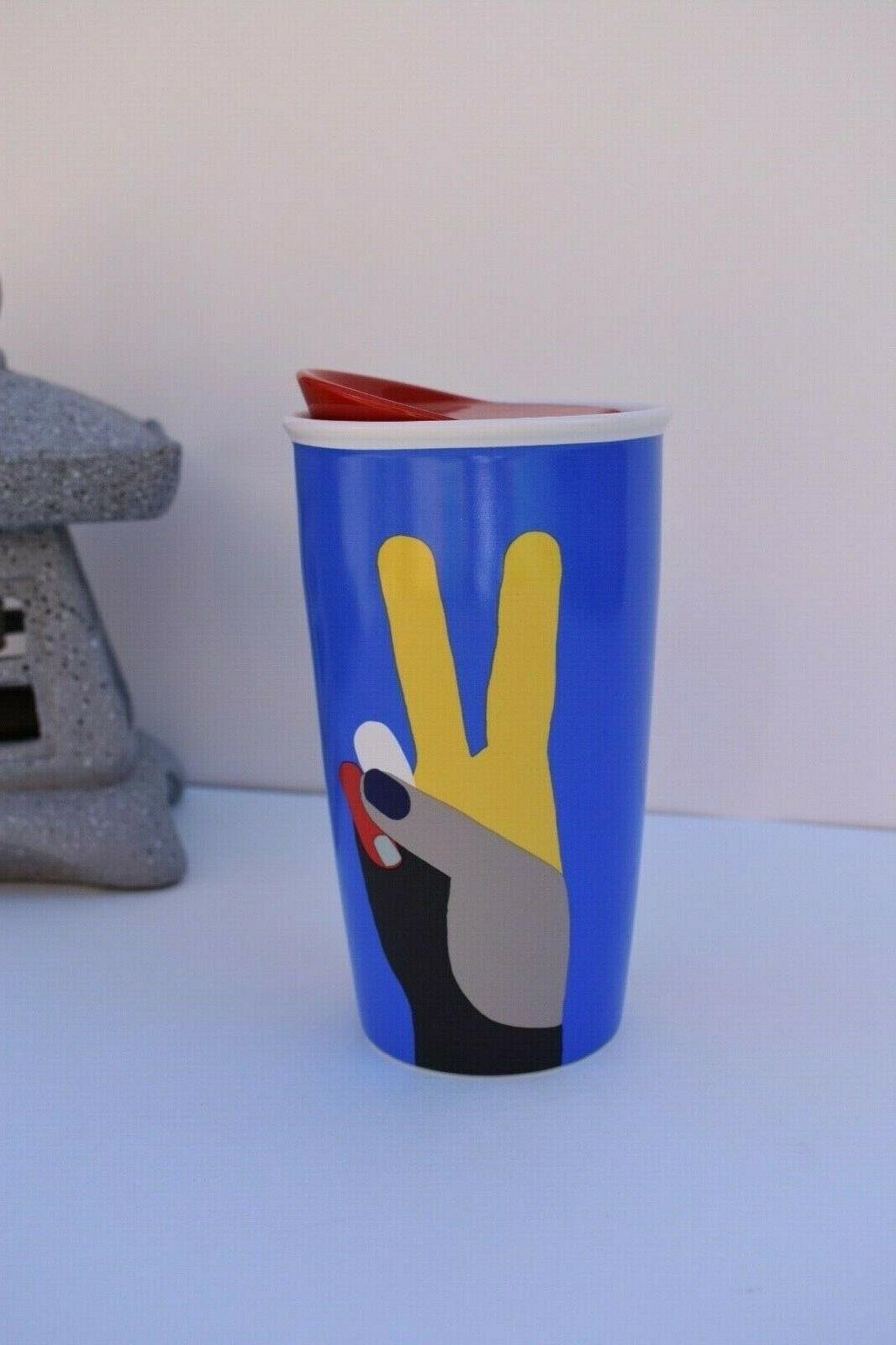 double wall peace hands tumbler ceramic travel