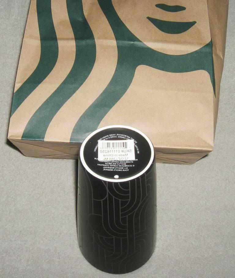 STARBUCKS FALL BLACK GEO ETCHED CERAMIC 12 oz NEW!
