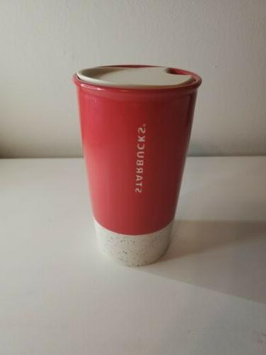 Starbucks Travel Tumbler Cup Red Etched Speckled