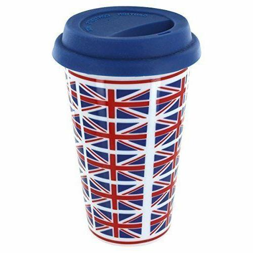 union jack flags double walled ceramic travel