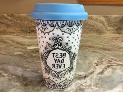 Large Double Wall Insulated Travel Mug. Best Day Ever. Blue