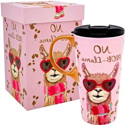 LLAMA.- Animal Kingdom Gift Boxed ceramic Travel Mug w/Acryl