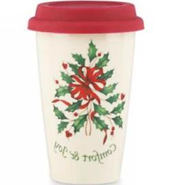 NEW Lenox Comfort & Joy Ceramic Thermal Travel Mug-Silicone