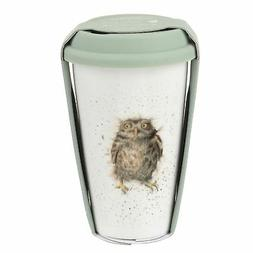 OWL BROWN WHITE GREEN CERAMIC TRAVEL MUG WITH SILICONE LID H