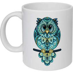 'Patterned Owl' Ceramic Mug / Travel Cup