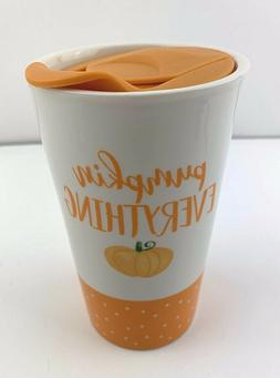 Pumpkin Everything Ceramic Travel Mug With Lid Brand New 14.