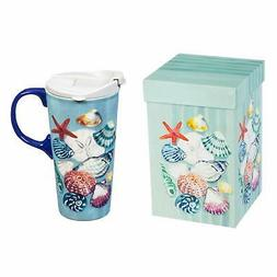 Seashells Ceramic Travel Cup - 4 x 5 x 7 Inches