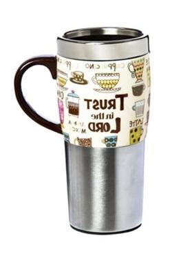 stainless steel and ceramic travel coffee cup