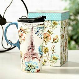 Tall Ceramic Travel Mug 17 oz. Sealed Lid With Gift Box Pari