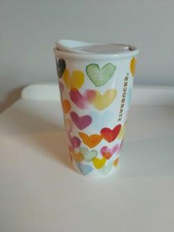 Watercolor Hearts Starbucks 2015 Travel Ceramic 10oz Mug Tum