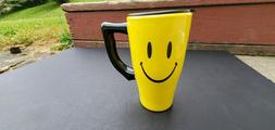 Spoontiques Yellow Smiley Face Ceramic Travel Mug 18 ounces